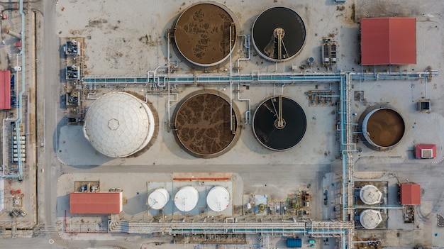 Wastewater treatment plant, water recycling on sewage treatment station, aerial view.