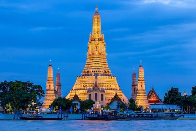 Wat arun and the chao phraya river, bangkok, thailand