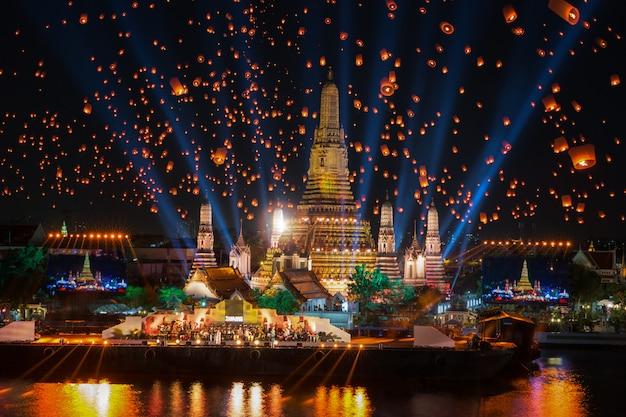 Wat arun temple in new year celebration in bangkok city