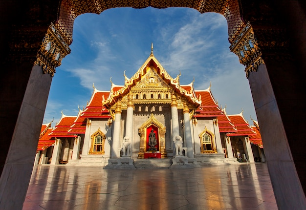 Wat benchamabophit ,mable temple most popular traveling destination in bangkok thailand