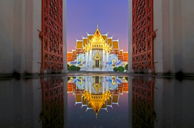 Wat benchamabophit the marble temple reflections at sunset