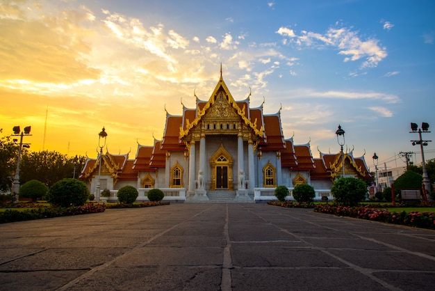 Wat benchamabophit (the marble temple) with sunset background