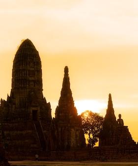Wat chai wattanaram in ayutthaya in sunset time.
