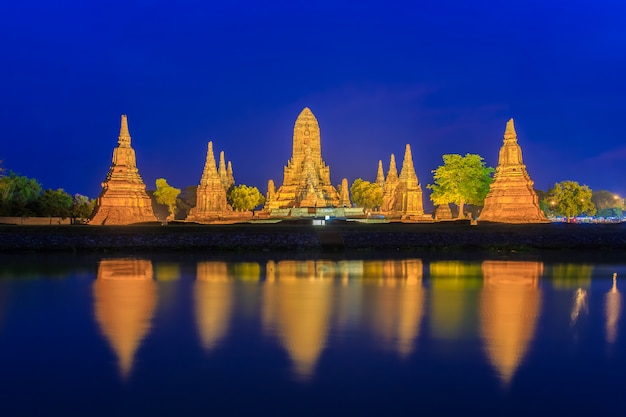 Wat chaiwatthanaram temple on twilight in ayutthaya, thailand