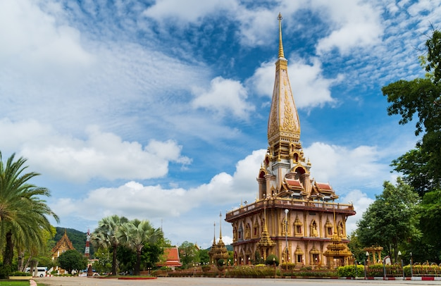 Wat chalong or chalong temple the most popular tourist attractions in phuket thailand good weather