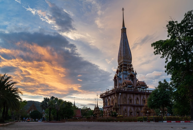 Wat chalong or chalong temple the most popular tourist attractions in phuket thailand with sun light