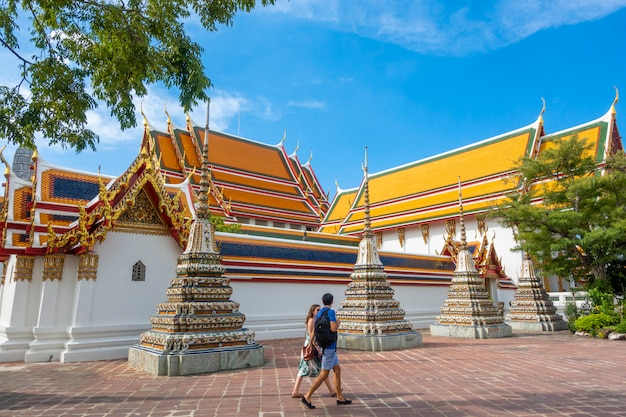 Wat pho is the most famous of thailand temple for tourists  in bangkok, thailand