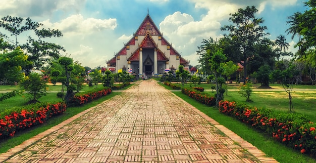 Wat phra si sanphet ayutthaya  historical park has been considered a world heritage site ayutthaya in thailand.