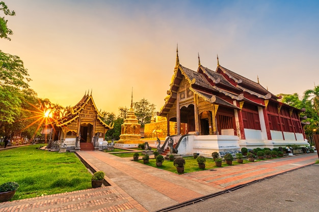 Wat phra singh is a buddhist temple is a major tourist attraction in chiang mai northern thailand.