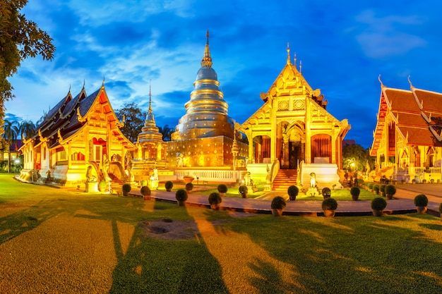 Wat phra singh is located in the western part of the old city center of chiang mai, thailand