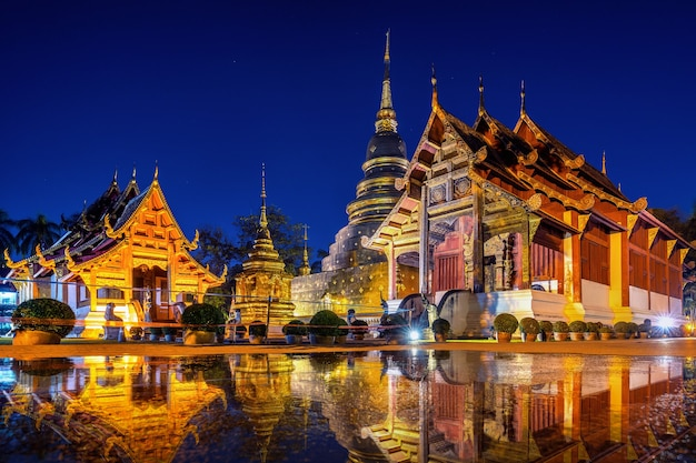 Wat phra singh temple at night in chiang mai, thailand.