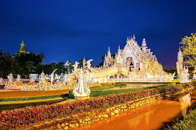 태국 치앙라이 일몰의 왓 롱 쿤(하얀 사원)