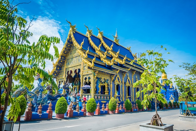 Wat rong sua ten temple with blue sky background, chiang rai province, thailand,