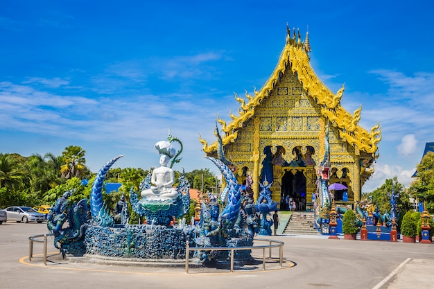 Wat rong sua ten temple with blue sky background, chiang rai province, thailand