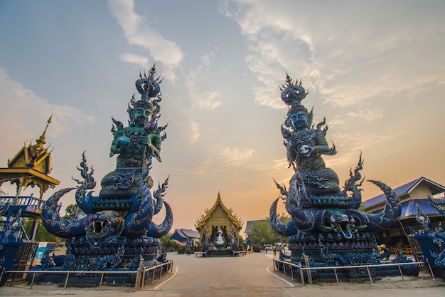 Wat rong suea ten  is a place popular tourist destinations in chiang rai the beautiful blue statue.