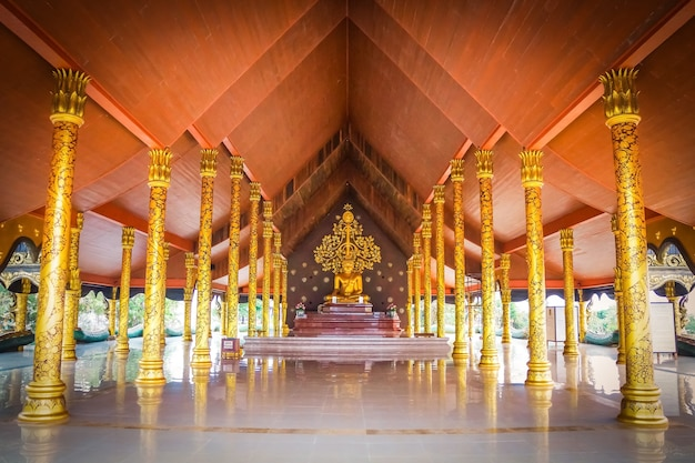 Wat sirindhornwararam; the amazing temple in thailand, the wall can growing like a neon in the dark.