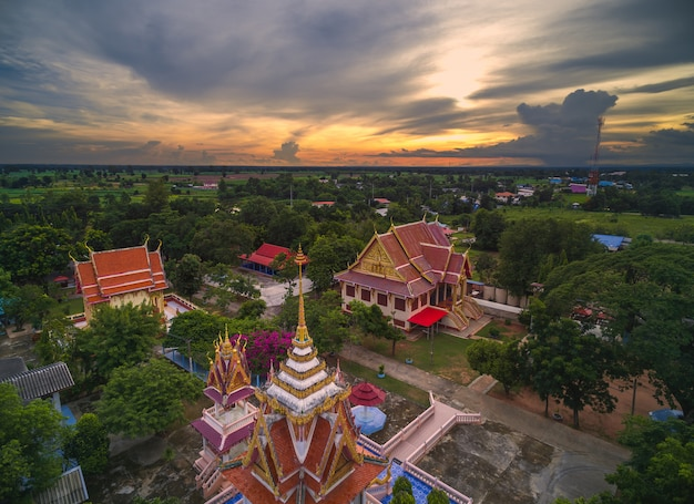 Wat thai, sunset in temple thailand,they are public domain or treasure of buddhism
