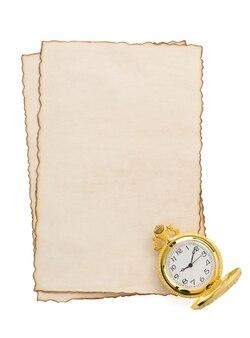 白で隔離の羊皮紙で見る
