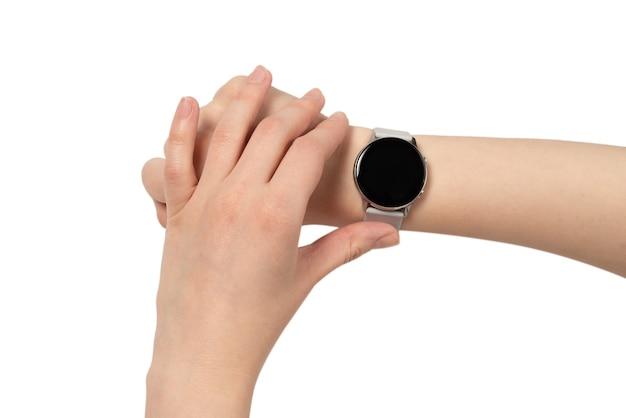 白で隔離の女性の手で見てください。