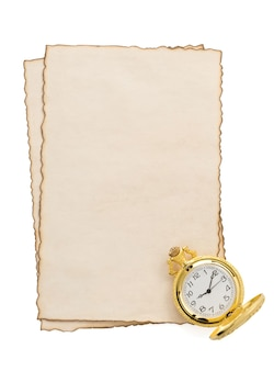 Watch at parchment isolated on white