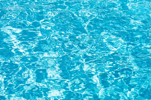 Water background, ripple waves. blue swiming pool pattern. sea surface. water in swimming pool with sun reflection. banner with copy space.