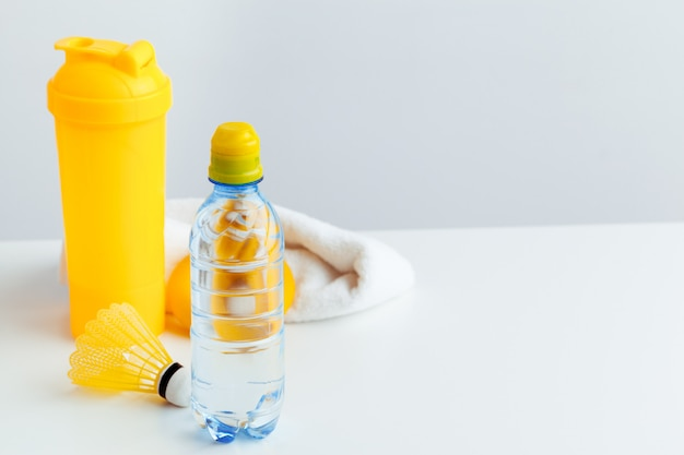 Water bottle and shaker bottle with protein. sport drinks