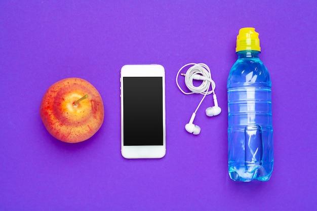 Water bottle, smartphone