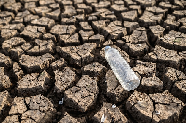 Water bottles on dry soil with dry and cracked soil, global warming