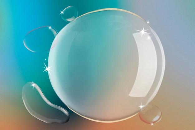 水泡の背景、グラデーションの青とオレンジの壁紙
