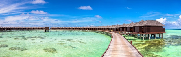 Water bungalows at tropical island in the maldives