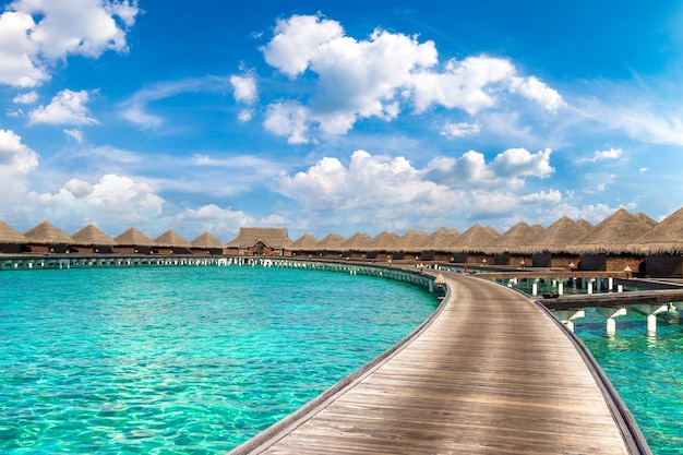 Water bungalows in a tropical island in the maldives