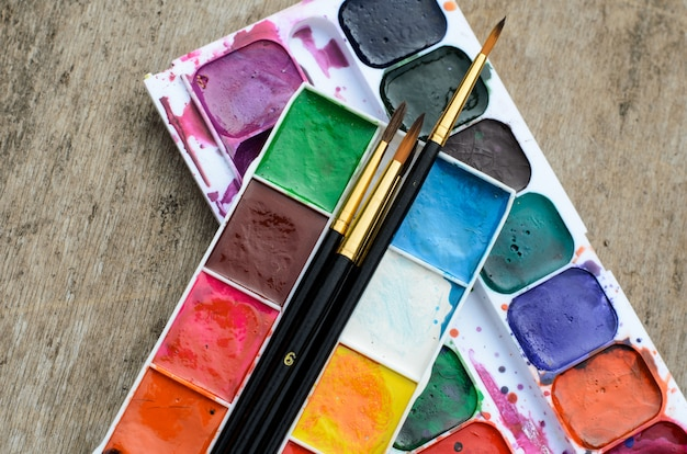 Water color paint box for drawing and creative development