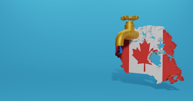 3dレンダリングのインフォグラフィックのためのカナダの水危機と乾季