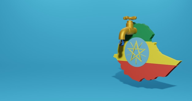 3dレンダリングのインフォグラフィックのためのエチオピアの水危機と乾季