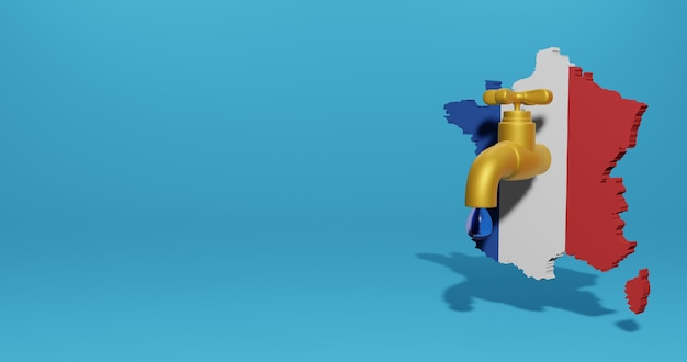 3d 렌더링의 인포 그래픽을위한 프랑스의 물 위기와 건기