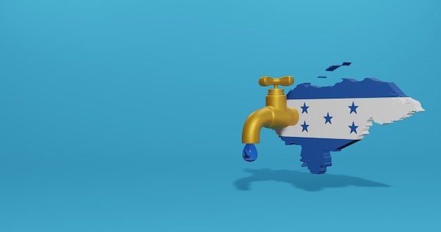 3dレンダリングのインフォグラフィックとソーシャルメディアコンテンツのためのホンジュラスの水危機と乾季