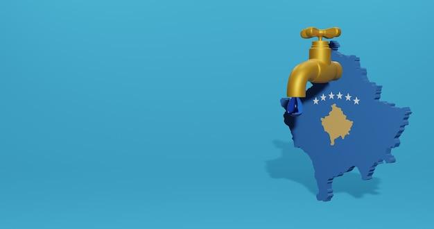 Водный кризис и сухой сезон в косово для инфографики в 3d-рендеринге