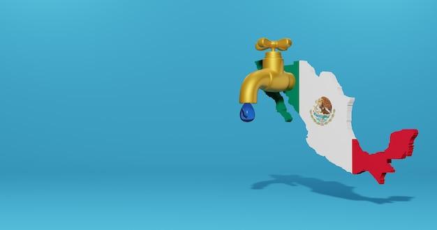 3dレンダリングのインフォグラフィックのためのメキシコの水危機と乾季
