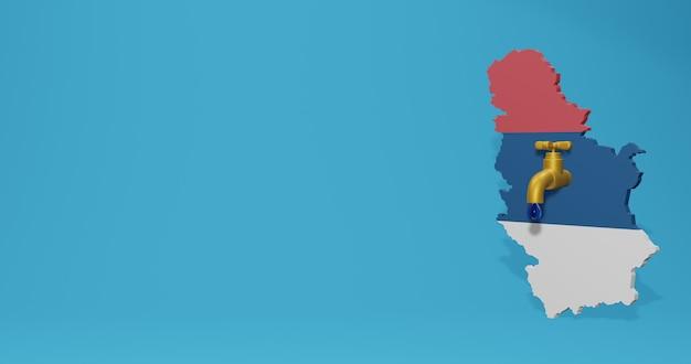 3d 렌더링의 infographics에 대한 세르비아의 물 위기와 건기