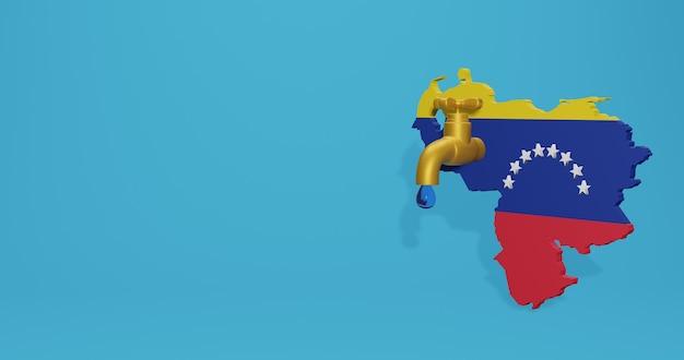 Водный кризис и сухой сезон в венесуэле для инфографики и контента социальных сетей в 3d-рендеринге
