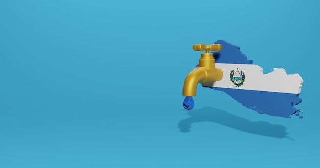 Water crisis and dry season in el savador for infographics in 3d rendering