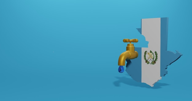 Water crisis and dry season in guatemala for infographics and social media content in 3d rendering