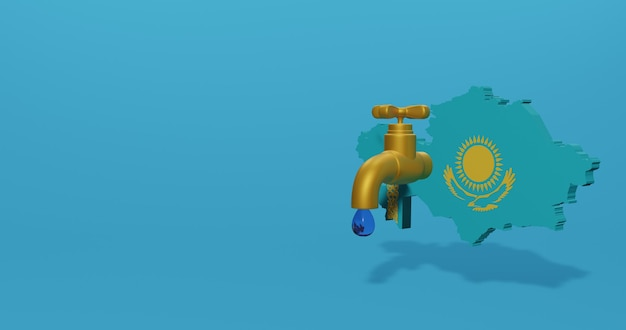 Water crisis and dry season in kazakhstan for infographics in 3d rendering