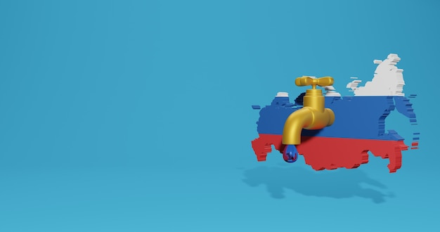 Water crisis and dry season in russia for infographics in 3d rendering