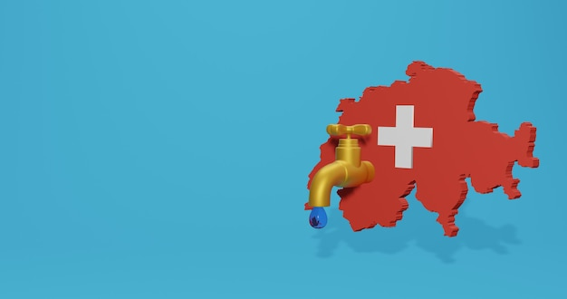 Water crisis and dry season in switzerland for infographics in 3d rendering