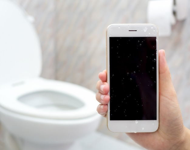 Water damage smartphone in water closet
