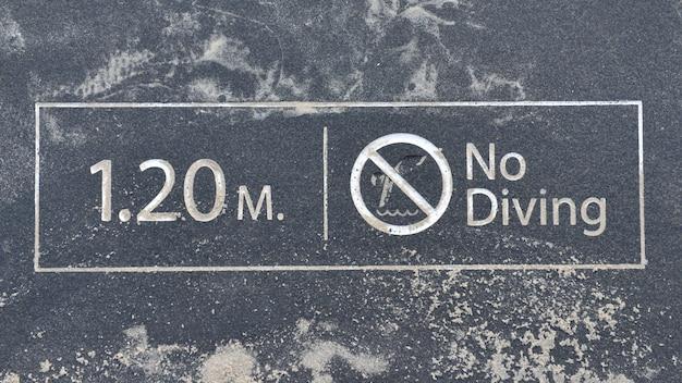 Water depth 1.20 meters, no swimming.