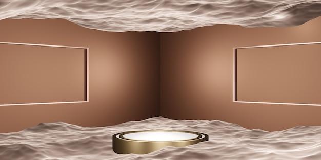 제품 또는 메시지 프레젠테이션을 위한 정사각형 프레임 스튜디오 장면이 있는 물 진열대