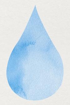 Elemento di disegno dell'acquerello blu goccia d'acqua