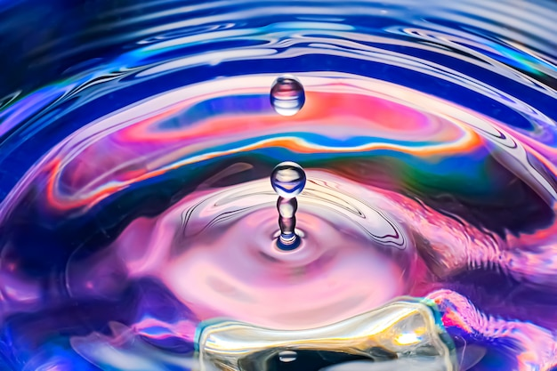Water drop on colorful color